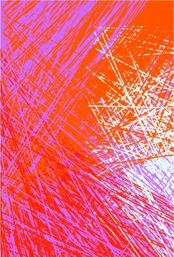 Generative Art, made by lines and colors of white, red orange and turquise